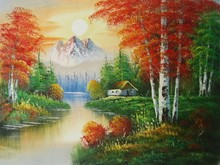 handmade landscape scene oil painting on canvas for bedroom modern art wall picture