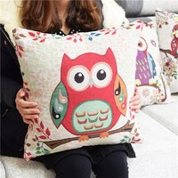 Colorcasa home textile owl patterned pillowcase cotton fabric pillow cover decorative item for bed&sofa(ETH136)