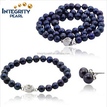 natural freshwater latest design pearl set with fine pearl quality