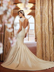 JPSKIRT1506026 Deep V- Neck Mermaid Long Trains Luxury Wedding Dress