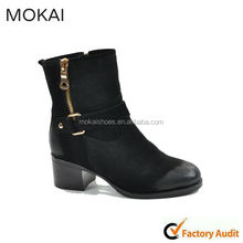 MK013-5 black suede zipper boots high qulity casual soes women riding boot 2015