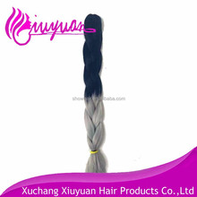 Hot hair two tone synthetic braiding hair,100% kanekalon braid hair,ombre color jumbo braid synthetic hair