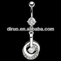 Entangled Double Hoop CZ Navel Belly Ring Body Piercing Jewelry EC319