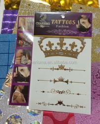 Water transferred Metallic Tattoo Stickers Crown Various Fashion Designs