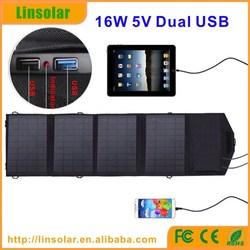 Portable Rechargeable Solar Panel Bag 16w 5v dual USB solar power charger bag