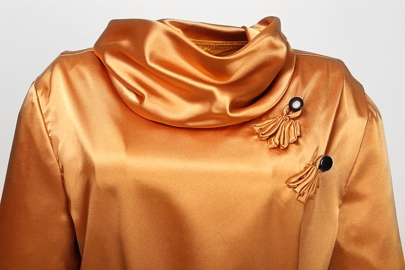 une d'or de demoiselle d'honneur en satin robe manches longues robe de soirée rétro concevoir pinup clothing