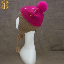 2015 última moda para niños sombreros bola de pelo de conejo sombreros niños gorro de punto sombreros