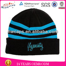 Custom Green Embroidery Design Hot Sellling Wholesale 100% Wool Hand Knitted Children Hat