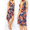 Love Wrap Sleeveless Party Front Pencil Printed Dress For Ladies CR1705
