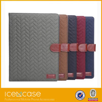 2015 Pattern Folio Leather Smart Cover Case Tartan Style pad case With Inner Hard Armor Case