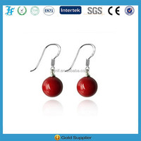 NEW DESIGN Perfect Round Red Natural stone Drop Earrings