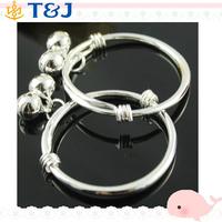 Simple Silver Plated Newborn Infant Children Kid Baby Bell Bangle Bracelet/