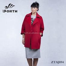 BORTH(R) Fashion Womens Wool Cashmere Long Winter Overcoat Deep red