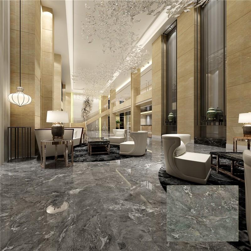 Cheap Glazed Non Slip Coal Grey Ceramic Marble Flooring Tile From