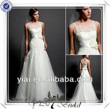 pura fq0472 cuello covereed pesado espalda de encaje vestido de la boda