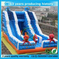 cute octopus inflatable ocean slide/inflatable sea slide