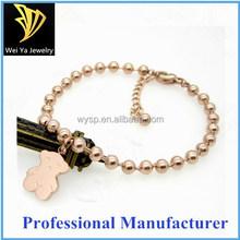 Fashion stainless steel gold plated lovely bear beaded bracelet
