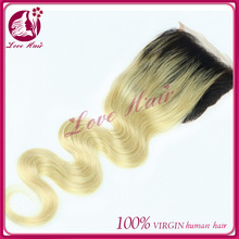 1b/613 body wave round lace closure ombre middle part virgin brazilian hair lace closure piece