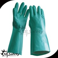 """SRSAFETY Nitrile Glove, Chemical Resistant, 15 mil Thickness, 13"""" Length,"""