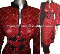 Ladies Readymade Lenin Dresses ( Sindhi Ajrak Style )
