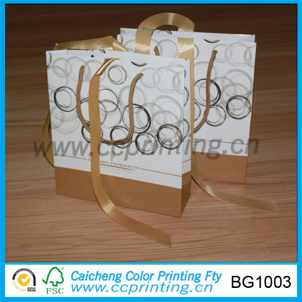 Trendy paper shopping bag with ribbon handle