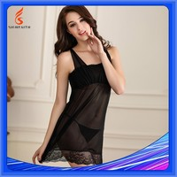 Breathable Adults Plain Dyed Hot Sexy Womens Black Nightgown Transparent