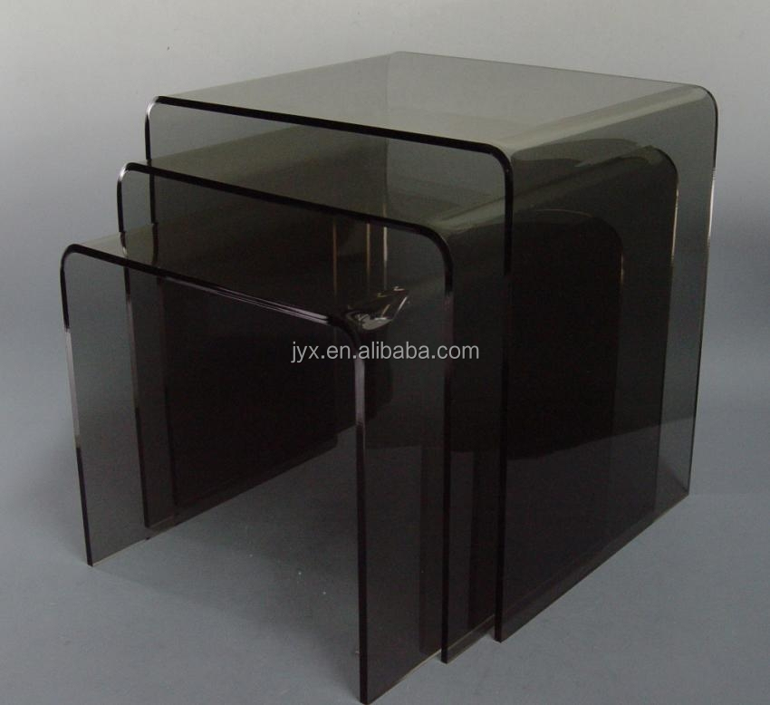 Set Of 2 Square Design Nesting Coffee Tables Made Of Black: 3pc Black Plexiglass Lucite Stacking Acrylic Nesting Table