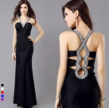 Beading Deep V-neck Elegant Prom Long Evening Dresses