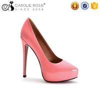 Shiny pu high heel fetish shoes pointed toe ladies platform shoes