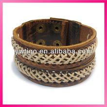 Vintage brown genuine leather arm cuffs