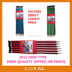 """HOT 7"""" Hexagonal three color HB Pencil with top dipped"""