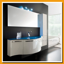 Blue tempered glass top curve cabinet storage cabinet Luxury bathroom cabinet