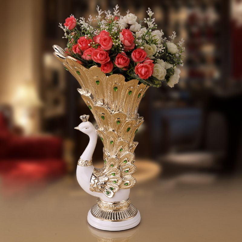 Wholesale gifts crafts multi use peacock vases for wedding