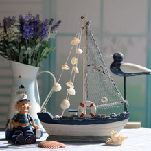 Fashion Classic Blue And White Sailboat Arts And Craft Mediterranean Style Wooden Gift Craft