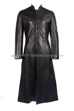 Men's RELOADED Black FULL-LENGTH Matrix Real Long Leather Jacket Coat