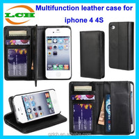 Multifunction high quality magnet right and left fold wallet leather flip open case for iphone 4/4s