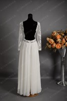 Best Selling!! 20105 Summer Lace Long Sleeves Sexy Backless Chiffon Beach Wedding Dress