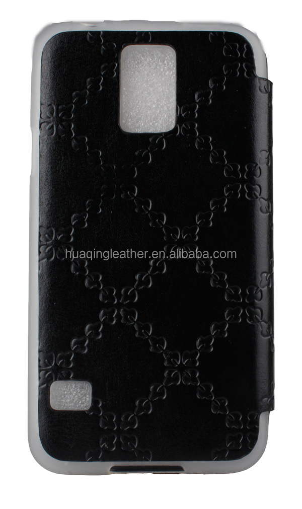 leather flip case for samsung S5 / wholesale leather flip case for samsung S5