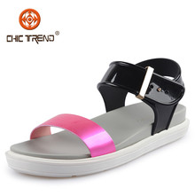 Girl Summer Beach Wholesale Cheap Plastic Jelly Strap Sandals Flat Clear PVC Flat Sandal
