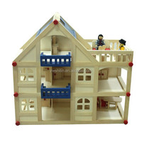 Wooden play house toys three storey wooden doll house for kids
