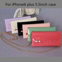 Atacado new arrival lady bolsa favorita tipo slot para cartão na carteira telemóvel case para iPhone6 plus com cadeia longa venda