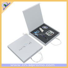 Custom Made VIP Quality Promotional Desk Clock USB Pen Car Charger Gift Set In Handle Paper Box