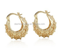 Gold Plated 14k Fat Chunky Puffy Basket Small s Lady Junior Teens ladies earrings designs pictures