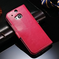 Crazy Horse Environment Friendly PU Leather Mobile Phone Flip Case for HTC M8