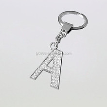 shining stone metal letter A shape key rings