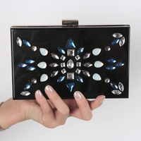2016 Envelop Handbag China manufacturers fashion evening purse Crystal rhinestone clutch bag Acrylic Fashion Women Box Bag