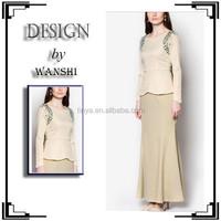 New arrival fashion beading design 2015 design baju kurung