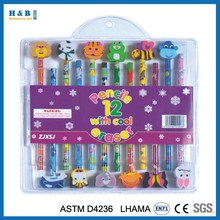 12pcs cute cool pencil with eraser