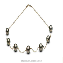 Women Jewelry 9-10mm Round Tahitian Pearl Fine Tin Cup Necklace