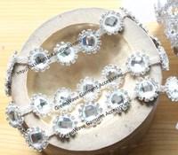 1.55cm fancy round flower bridal dress trimmings glass crystal rhinestone metal chain sewing on stones garment decoration
